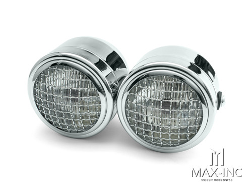 Chrome Universal Twin Metal Headlight + Mesh Grill - 12v / 35w
