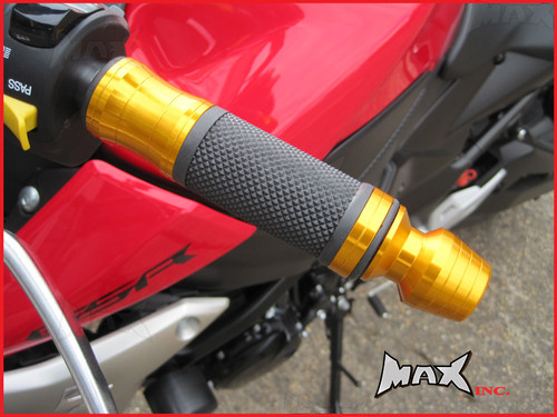GOLD CNC Machined Aluminium / Rubber Grips With Bar Ends - 7/8