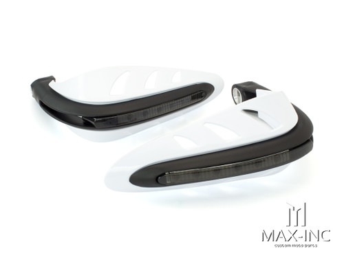 WHITE Universal Hand Guards with Integrated Amber LED Turn Signals
