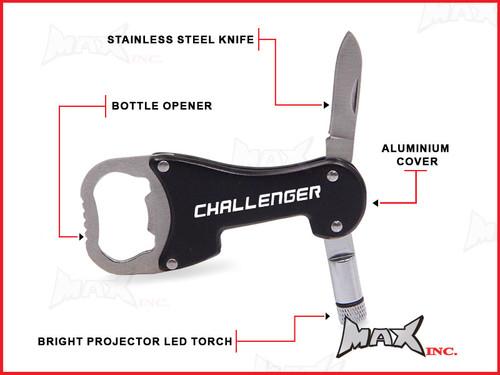 DODGE CHALLENGER - Lasered Logo Keyring / Pocket Knife / LED Torch / Bottle Opener