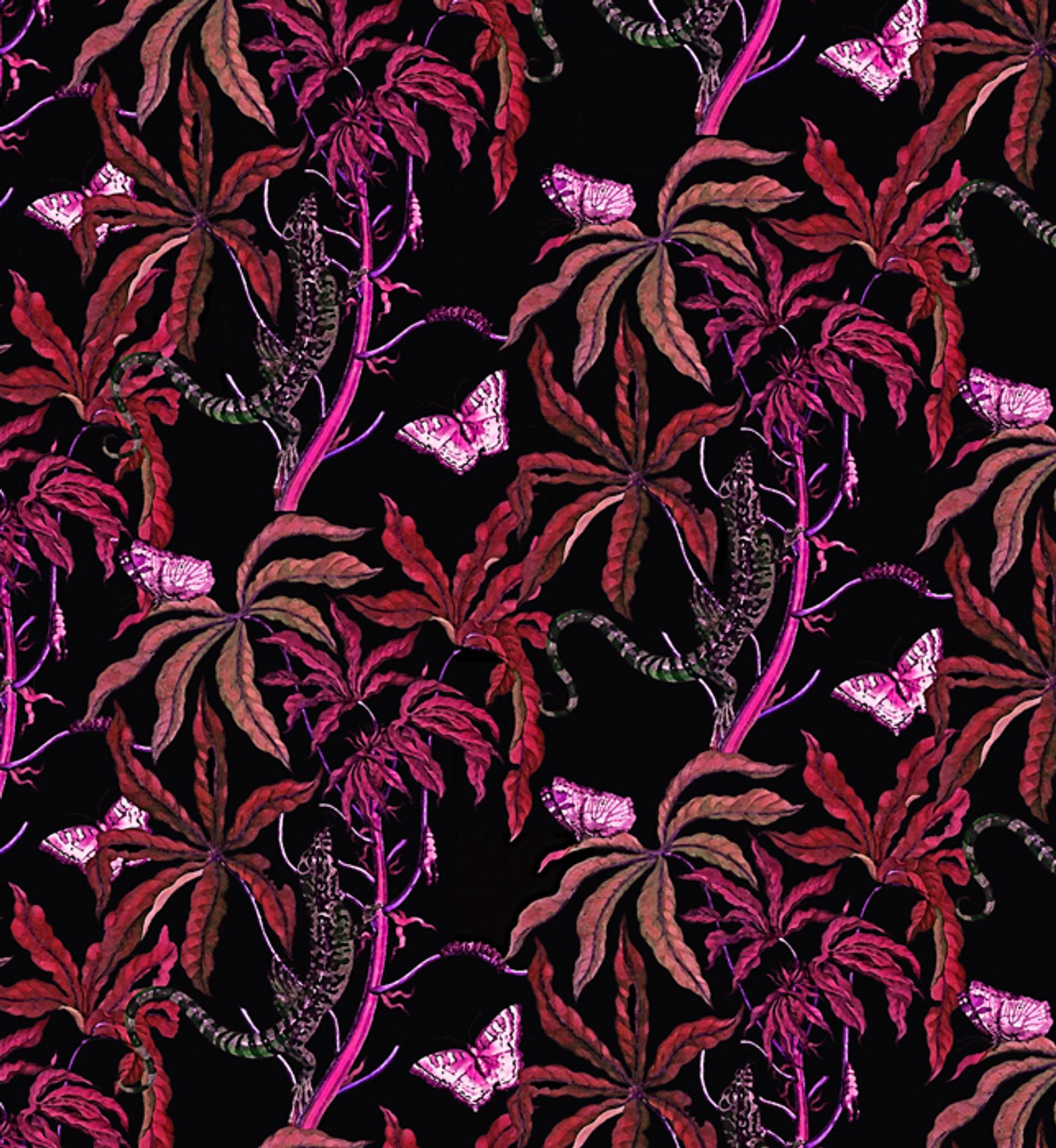 Fabric - Reptiles in the Dark - Pink