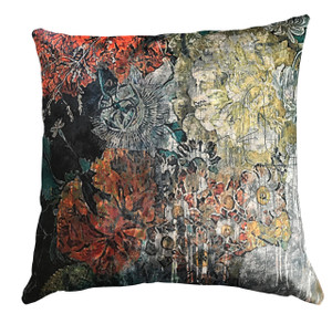 Cushion - Still Life with Flowers - Orange Smudged