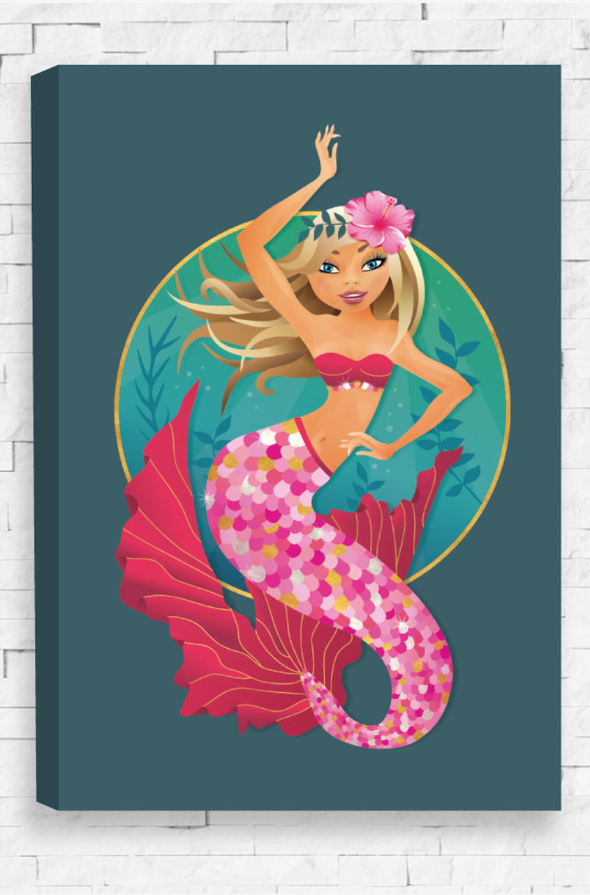 Amazing Majestic Mermaid Canvas Features A Pink Hibiscus Flower Set On A Hairband  In The Mermaidu0027s Blonde