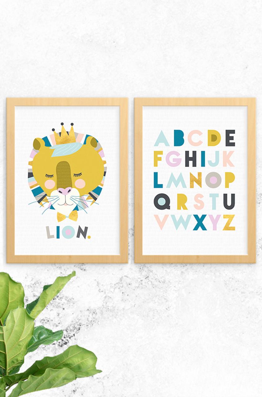 Laila Lion & Alphabet Prints (2 Pack Grey)   Girls Boys Bedroom Wall ...