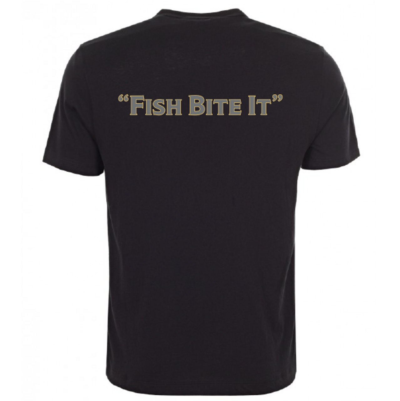 """SteelShad 50/50 Dry Blend Black T-shirt with SteelShad logo on the front, """"Fish Bite It"""" across the back."""