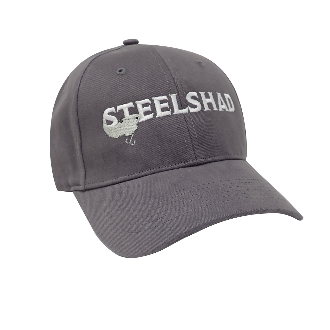 SteelShad Hat - Gray Twill - White Logo/Silver Lure