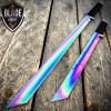 "2PC 27"" & 18"" NINJA RAINBOW SWORD SET Samurai Machete COMBAT FANTASY KNIFE Sheath"