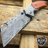"8"" TACTICAL Spring Assisted Open Pocket Knife CLEAVER RAZOR DAMASCUS ETCH Blade"