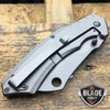 TACTICAL Spring Assisted Open Pocket Knife CLEAVER RAZOR TITANIUM GREY Blade