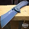 M-TECH TACTICAL Spring Assisted Open Pocket Knife CLEAVER RAZOR TITANIUM BLUE