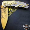 "8"" Gold Dragon Titanium Spring Assisted Open Blade Folding Pocket Knife Limited Edition"