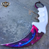 2PC TACTICAL COMBAT KARAMBIT NECK KNIFE Hunting BOWIE FIXED BLADE GALAXY SET