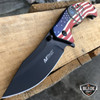 "8"" MTECH USA American Flag Punisher Skull SPRING ASSISTED OPEN Folding Pocket Knife"