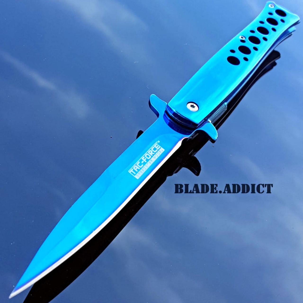 "Blue Star Blade Reviews >> 9"" TAC FORCE BLUE TITANIUM STILETTO SPRING ASSISTED TACTICAL POCKET KNIFE EDC - MEGAKNIFE"