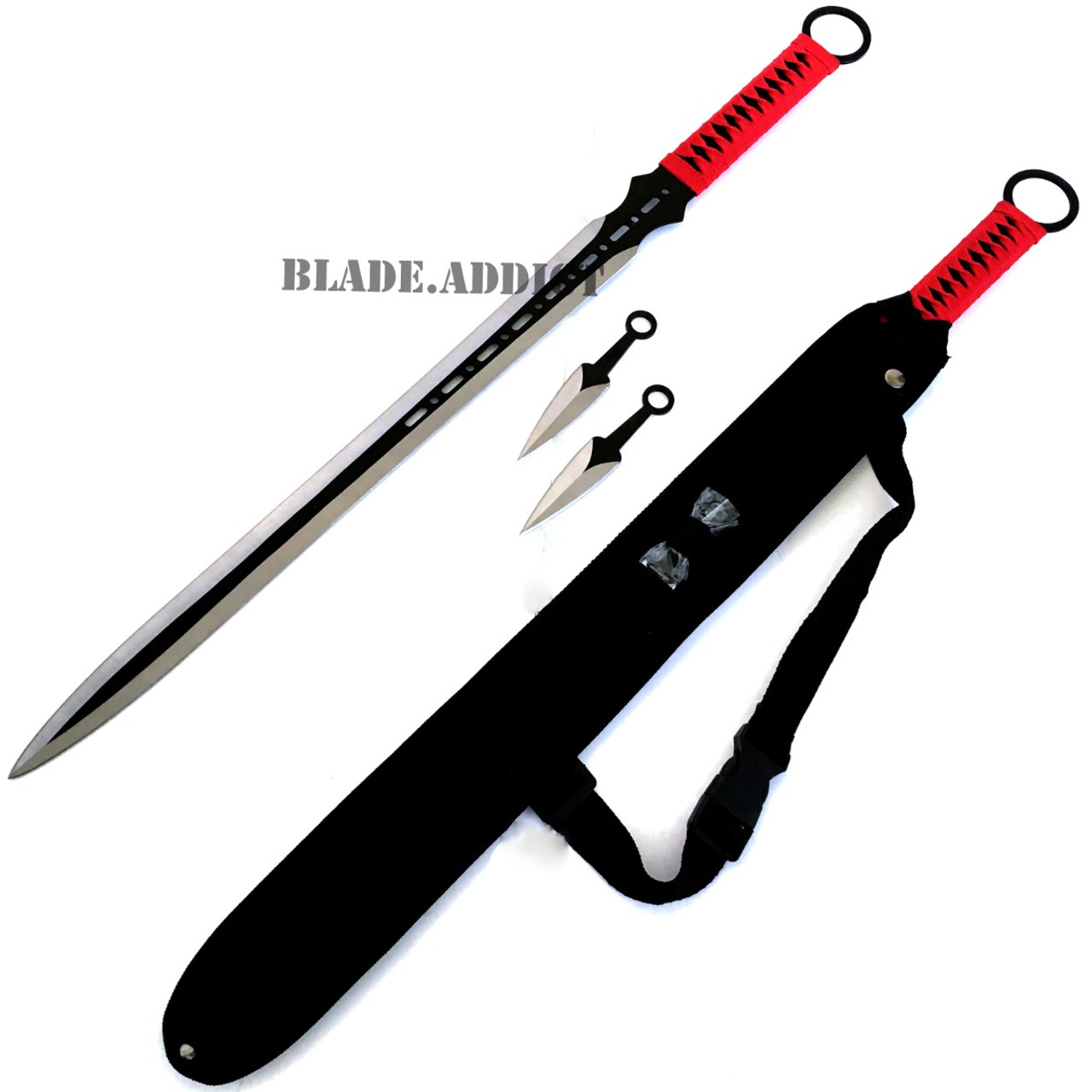 27 Quot Red Full Tang Katana Ninja Sword Throwing Knife Set