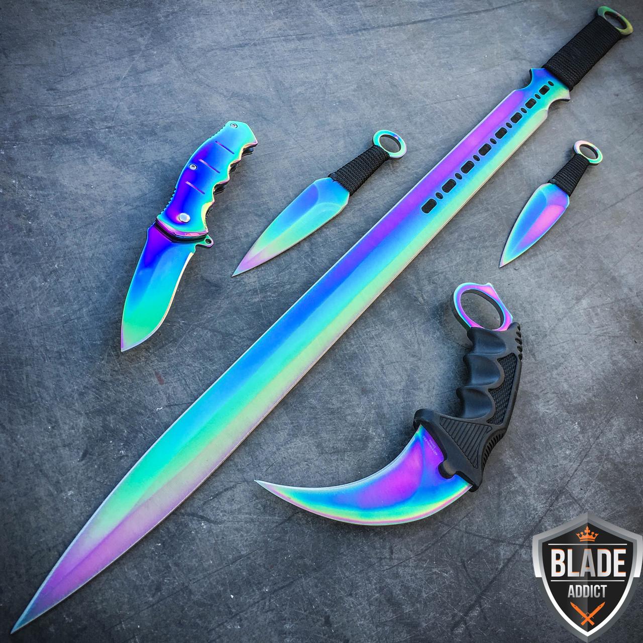 5pc Rainbow Tactical Combat Fixed Blade Machete Sword