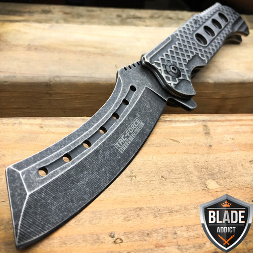 "9"" TAC FORCE Razor Spring Assisted Open Folding Pocket Knife Stonewash Cleaver"