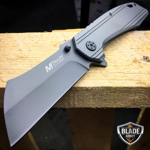 M-TECH TACTICAL Spring Assisted Open Pocket Knife CLEAVER RAZOR TITANIUM GREY