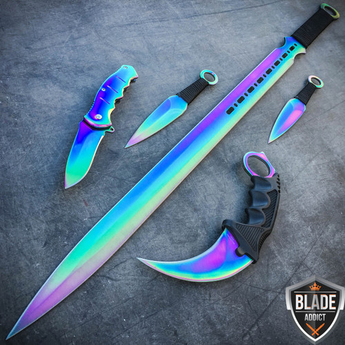 5PC Rainbow Tactical Combat Fixed Blade Machete Sword ... Ninja Throwing Knife