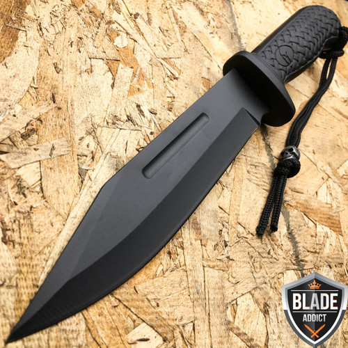 12 Quot Black Hunting Survival Fixed Blade Machete Tactical