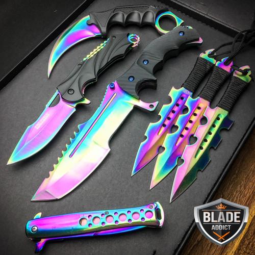 7 Pc Rainbow Titanium Ninja Battle Set Megaknife