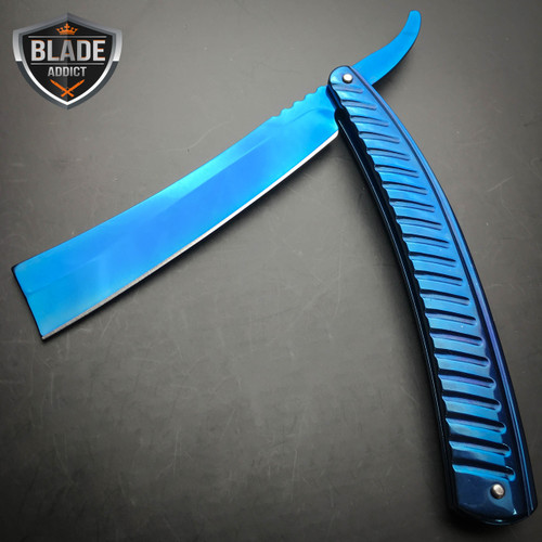 Blue Star Blade Reviews >> Blue FADE Straight Blade Barber Razor Folding Pocket Knife ...