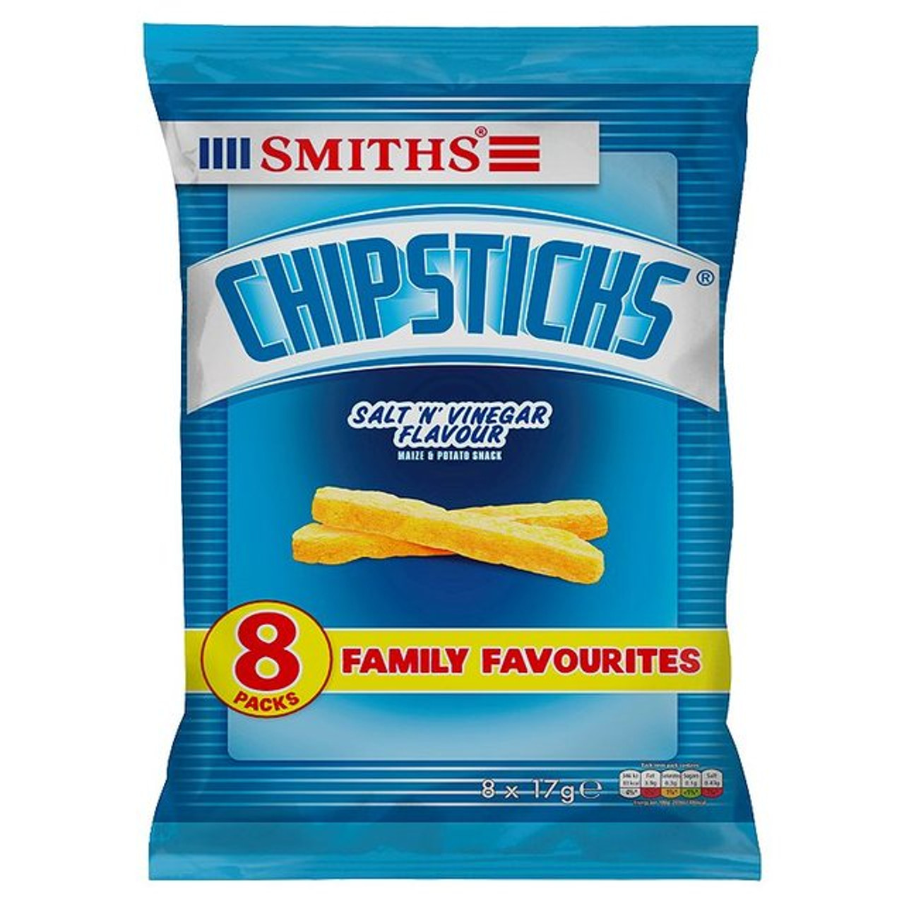 Walkers Smith Chipsticks Salt And Vinegar 8 X 17g