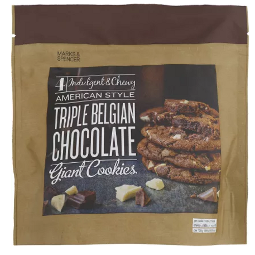 Marks and Spencer American Style Triple Belgian Chocolate Giant Cookies 257g