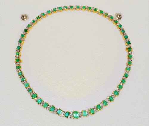 Certified Natural 21CTS VS F Diamond Emerald 18K Solid Gold 2-IN-1 Necklace & Bracelet