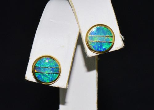 18K Solid Gold Australian Lightening Ridge Opal Inlay Stud Earrings