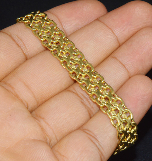 Estate Italian 18K Solid Gold Braided Wide Link Strap Bracelet
