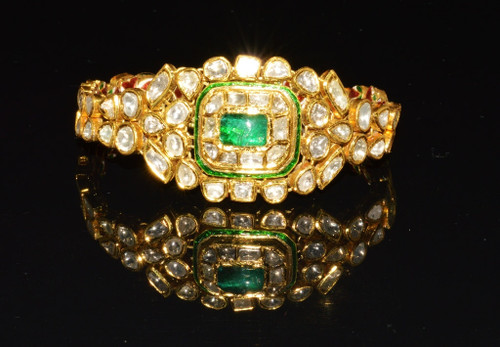 Estate 22K Solid Gold Natural Diamond Emerald Enamel Bangles Bracelets Pair