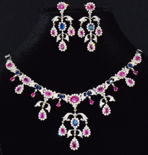 Certified Natural 31CTS VS F Diamond Ruby Sapphire 18K Solid Gold Necklace Earrings Set