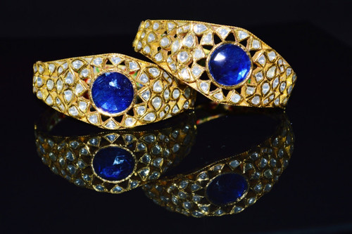 Estate 22K 18K Solid Gold Natural Diamond Sapphire Bangles Bracelets Pair