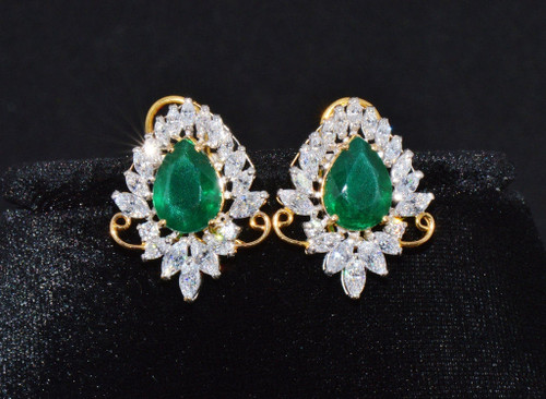 22K Solid Gold Emerald Cubic Zircon Stud Floral Earrings