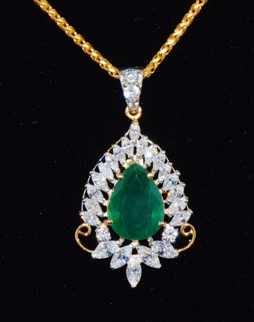 Emerald necklaces natural emerald pendant 22k 916 solid gold emerald cz floral pendant necklace aloadofball Choice Image