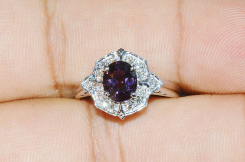 Certified Natural 1.73Cts VS F Diamond Purple Spinel 18K Solid Gold Ring