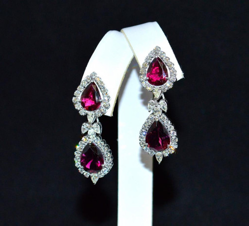 Certified Natural 14.66CTS VS G Diamond Rubellite Tourmaline 18K Solid Gold Earrings