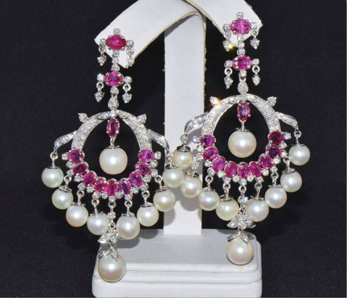 Certified Natural 89CTS VS F Diamond Ruby South Sea Pearl 18K Solid Gold Chandelier Earrings