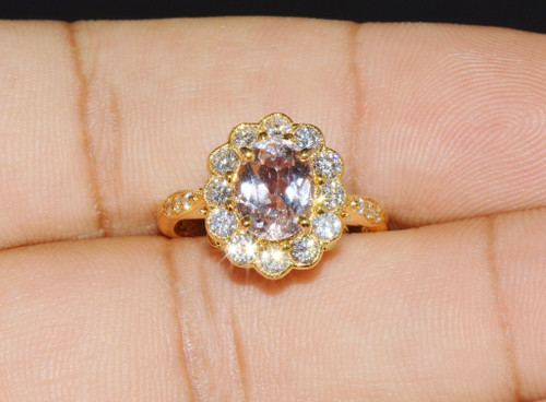 Certified Natural 2.75CTS VS F Diamond Pink Morganite 18K Solid Gold Ring