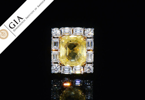 GIA Certified Natural 14.3Cts VS F Diamond Yellow Ceylon Sapphire 18K Solid Gold Ring