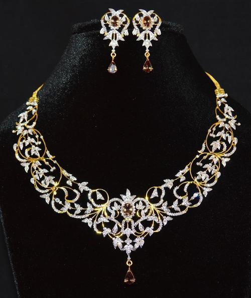 Certified Natural 14 72cts Vs G Diamond Color Change Garnet 18k Solid Gold Necklace Earrings Set