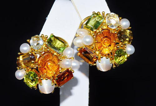 Certified Natural 22.5CTS Carved Citrine Pearl Moonstone Aquamarine Peridot 18K Solid Gold Earrings