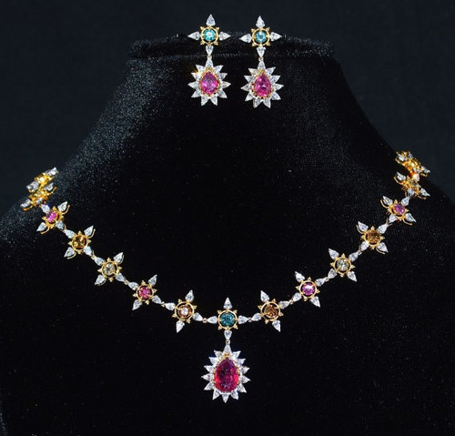 Certified Natural 18 6cts Vs F Diamond Tourmaline 18k Solid Gold Necklace Earrings Set