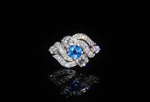 Certified Natural 1.26CTS VS G Diamond Sapphire Solid Platinum Ring