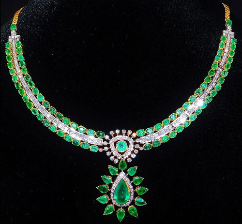Certified Natural 26CTS VS F Diamond Emerald 18K Solid Gold Necklace