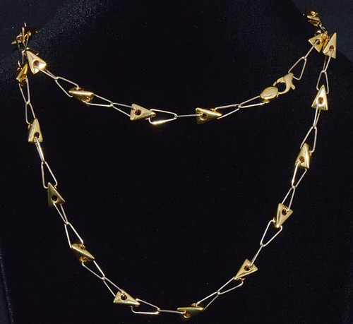 Authentic Peter Wong 18K Solid Gold Triangle Link Single Or Layered Necklace