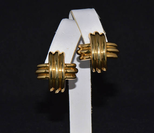 Authentic Tiffany & Co. 18K Solid Gold Large X Criss Cross Omega Clip On Earrings