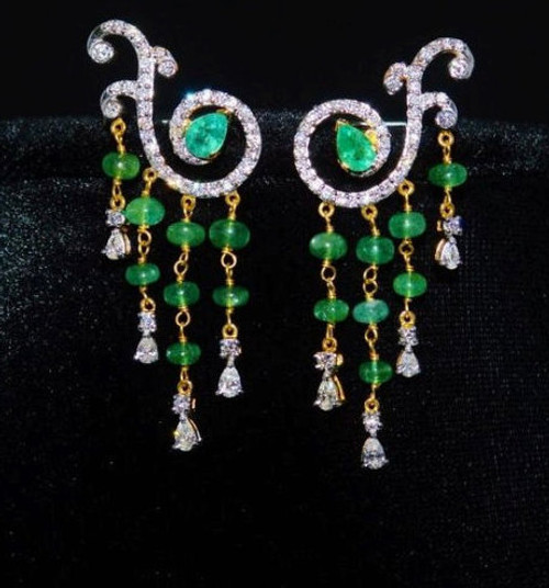 Certified Natural 10CTS VS F Diamond Emerald 18K Solid Gold Chandelier Earrings