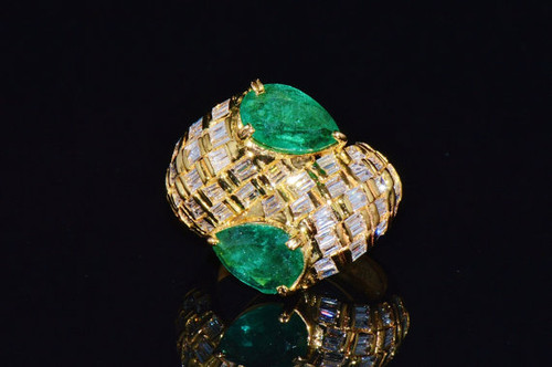 Certified Natural 5.3CTS VS F Diamond Emerald 18K Solid Gold Bypass Ring